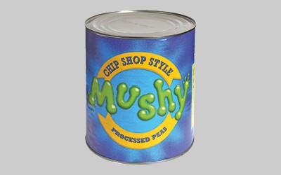 Q Brand Mushy Pea Tins