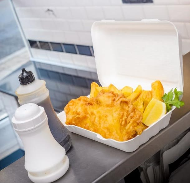 Fish And Chips In A Tray